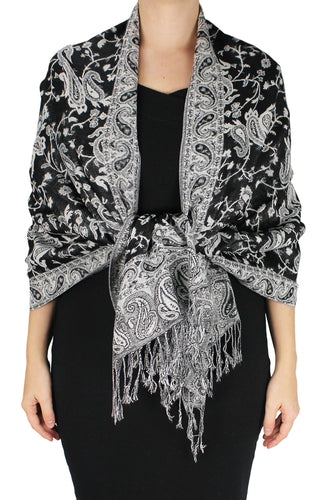 Elegant Double Layer Reversible Paisley Pashmina