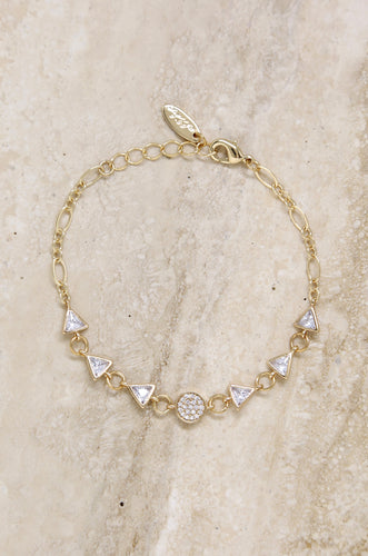 Carolyn Crystal Shape 18k Gold Plated Bracelet