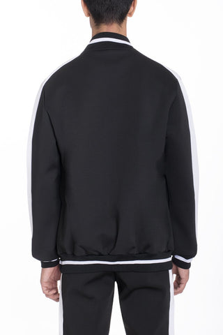 RALLY TRACK JACKET- BLACK/ WHITE