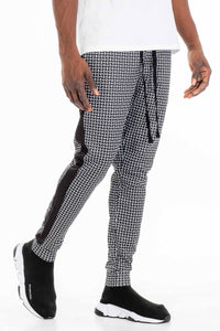 PATTERNED TRACK PANTS- BLACK