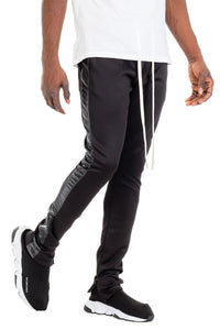 LEATHER TRACK PANTS - BLACK