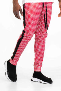 PATTERNED TRACK PANTS- RED
