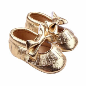 Baby Shoes Metal Color Bowknot Crib Bowknot Shoes