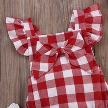 Bodysuits Plaid Newborn Baby Girl Cotton Bowknot