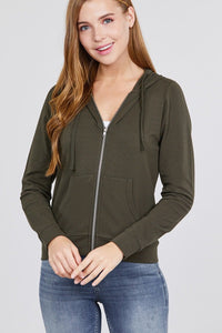 Olive - Long Sleeve French Terry Jacket
