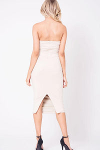STRAPLESS MIDI SUEDE DRESS
