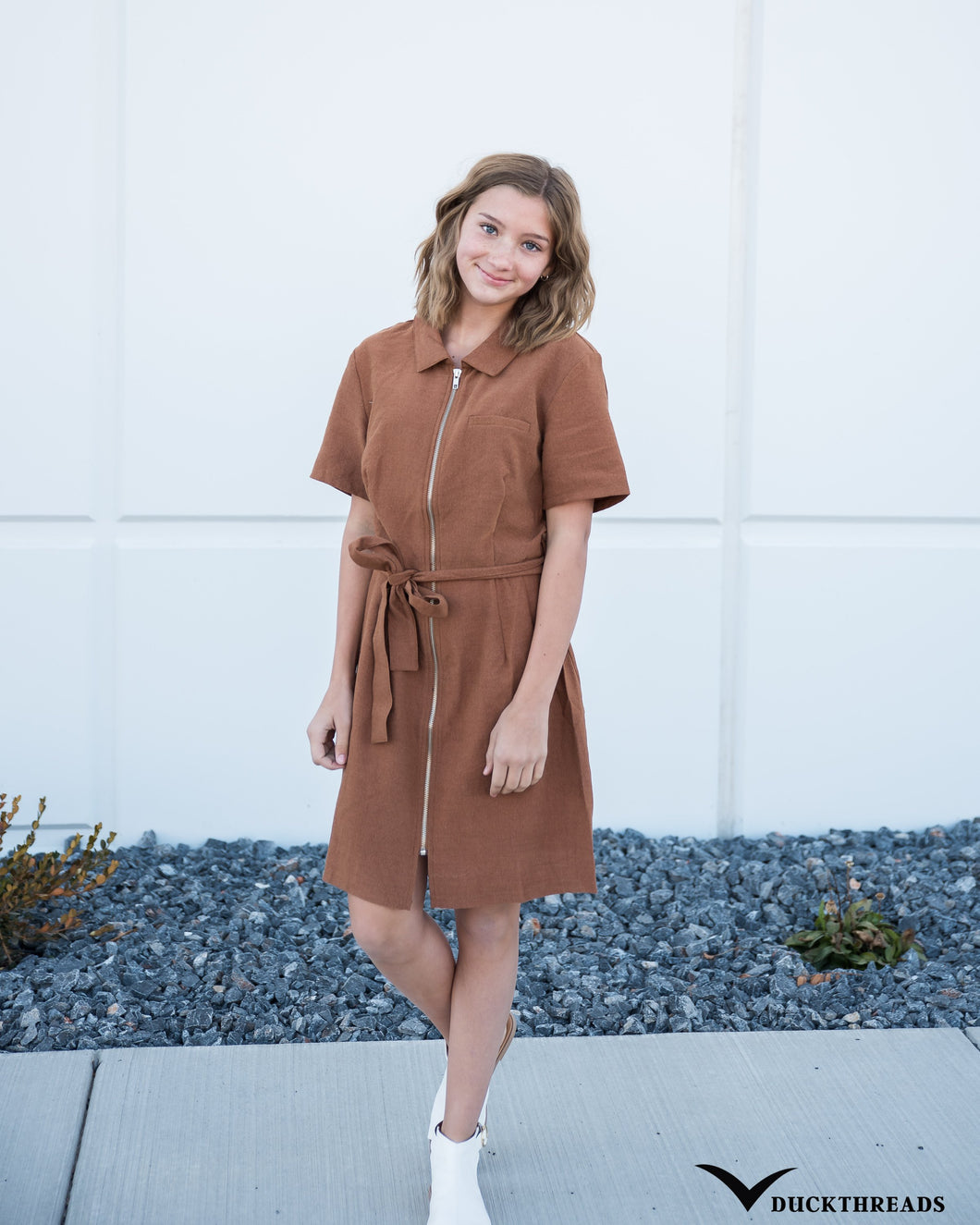 Women's Front-zip Corduroy Dress with Tie Belt - in Mocha
