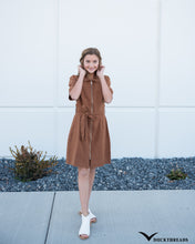 Load image into Gallery viewer, Women's Front-zip Corduroy Dress with Tie Belt - in Mocha