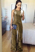 Load image into Gallery viewer, Gold Geometric Stripe Sleeveless Wide Leg Sequin Jumpsuit