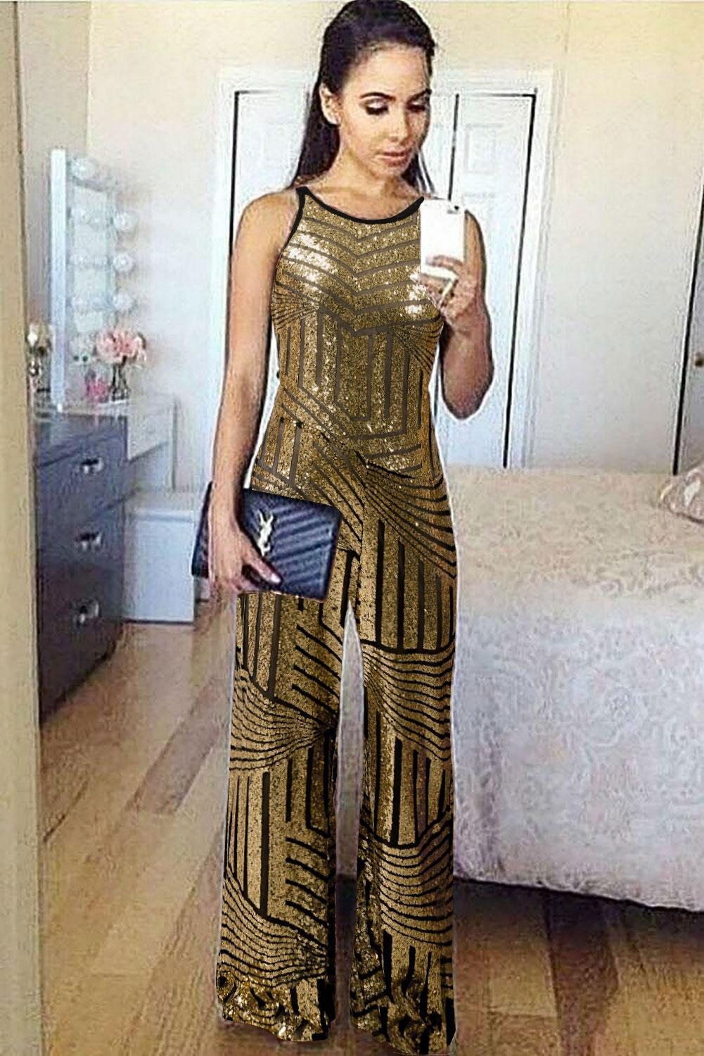 Gold Geometric Stripe Sleeveless Wide Leg Sequin Jumpsuit