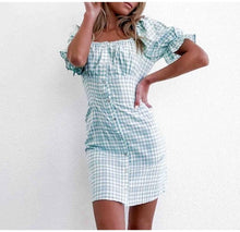 Load image into Gallery viewer, Off the Shoulder Plaid Mini Summer Dress Women