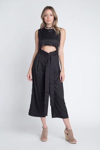 Women's Sleeveless Tie Jumpsuit with Slit