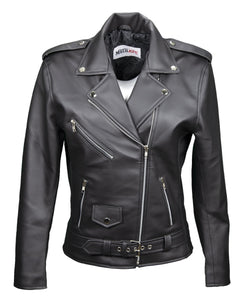 Women's Vegan Moto Style Faux Leather Jacket