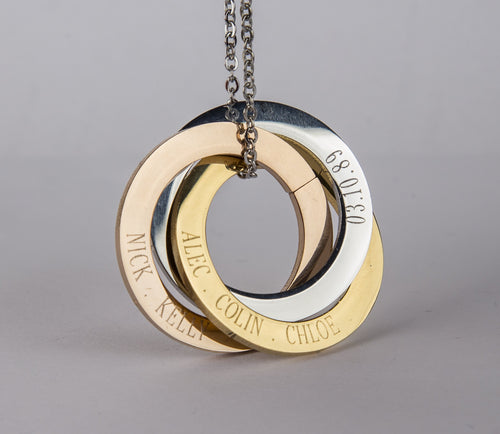 Personalized Russian Rings Eternity Necklace