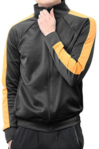PORT TRACK JACKET- BLACK/ORANGE