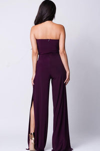 STRAPLESS DOUBLE SLIT JUMPSUIT
