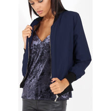 Load image into Gallery viewer, Navy Classic Bomber Biker Jacket