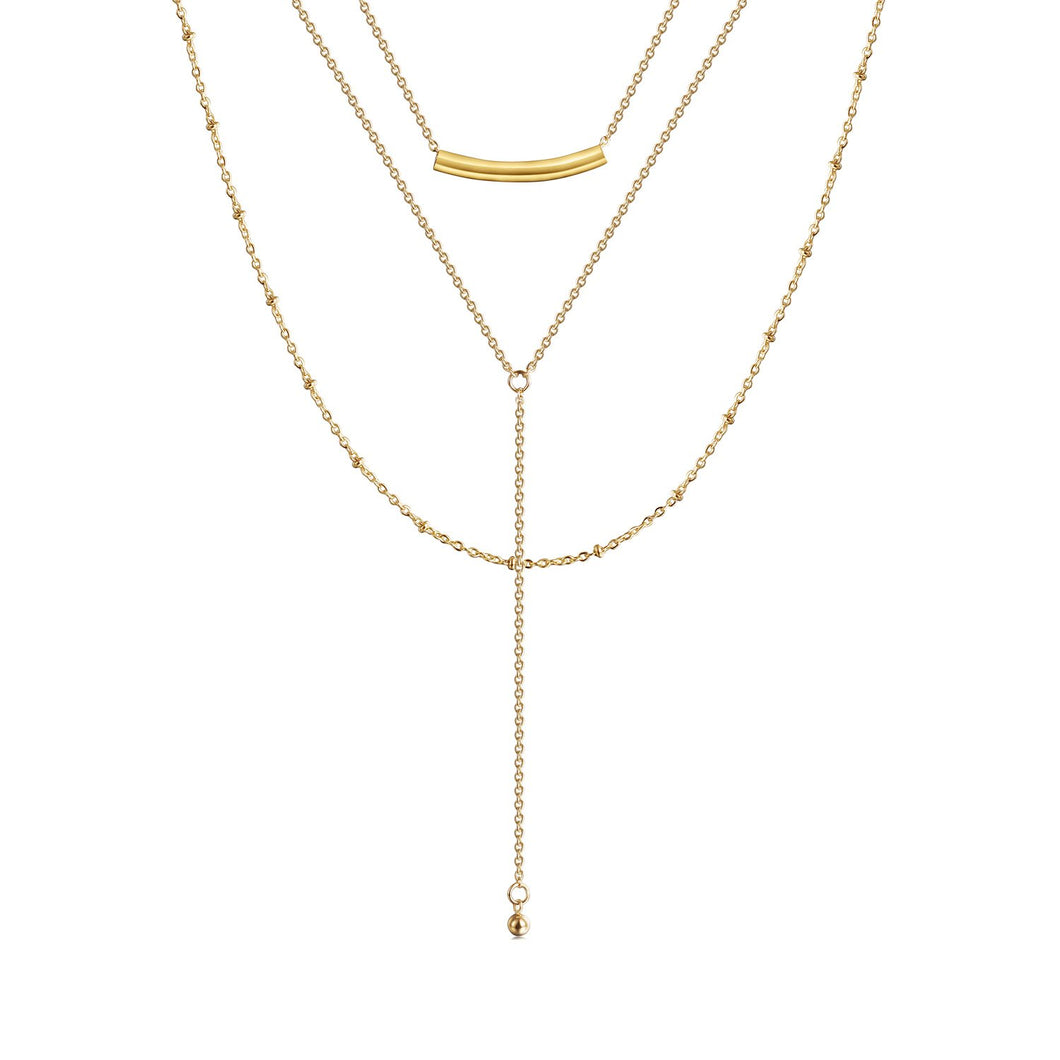 Floating Bar Layered Y-Necklace