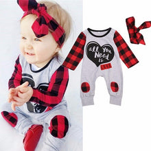 Newborn Baby Boys Girls clothes Letter Print Plaid