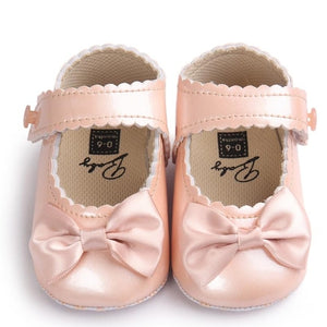 Princess First Walker Baby Girl Bowknot PU Leater