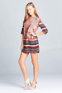 Boho Print Dress with Back Zipper