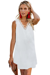 Summer Eyelash V Neck Sleeveless Shift Mini White Dress