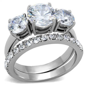 Women Stainless Steel Cubic Zirconia Rings TK2177