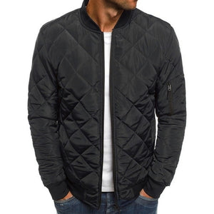 Trendy Rhombus Winter Jackets Men O Neck Zipper
