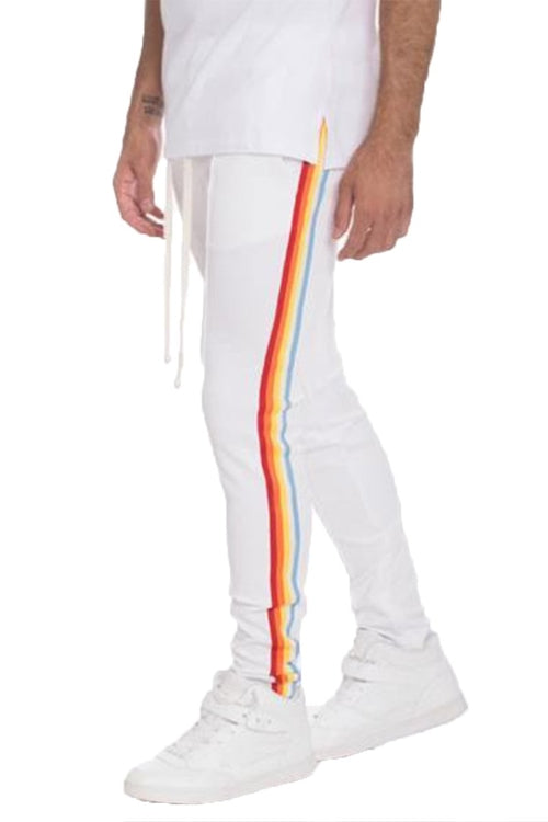 FULL RAINBOW TAPED TRACK PANTS-WHITE