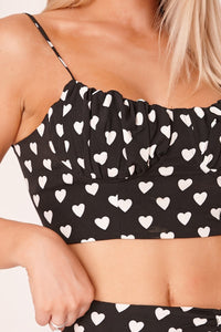Black Ruched Heart Print Bralette Top