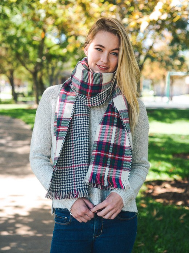 White Blend Classic Plaid Blanket Scarf