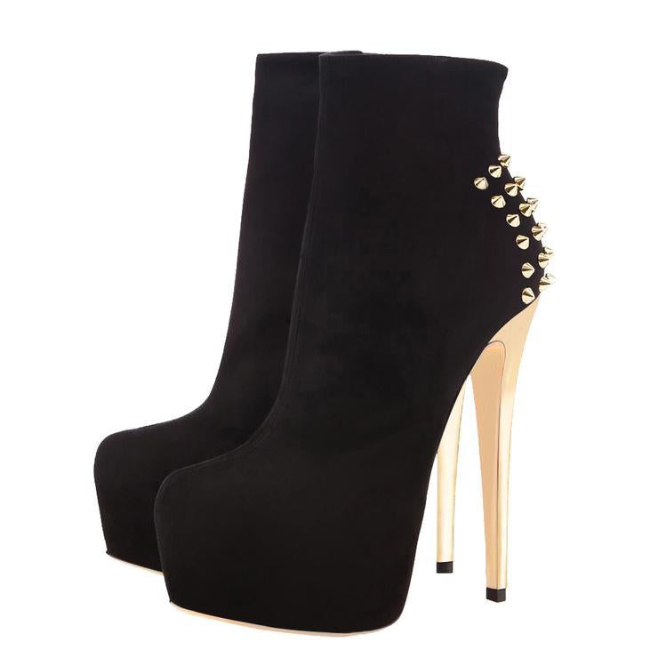 Black Suede Platform Golden Rivet Stiletto High Heel Ankle Boots