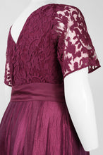 Load image into Gallery viewer, Adrianna Papell Crew Neck V-Back Zipper Back Bow Waist Lace Bodice