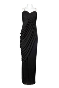 Ruched Bodice Drape Georgette Dress. Lined. By Alex Evenings.