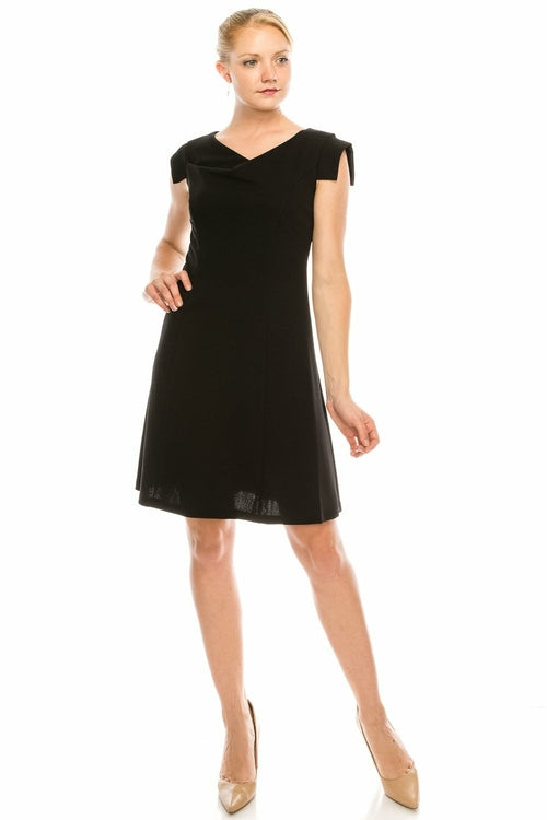 BeBe Black Cowl Neck Rectangular Cap Sleeved Dress