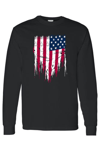 Men's/Unisex USA Flag Battle Ripped Long Sleeve