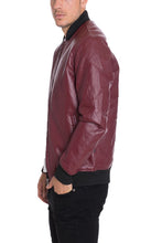 FAUX LEATHER QUILTED JACKET- BURGUNDY