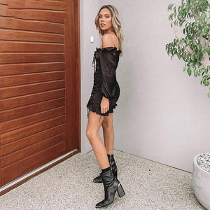 Long Sleeve Black Sexy Backless Lace up Club Dress