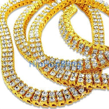 Load image into Gallery viewer, 2 Row Gold Iced Out Bling Bling Chain