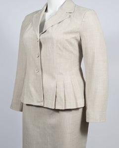 Danillo Oatmeal Biege Twill Skirt Suit Set