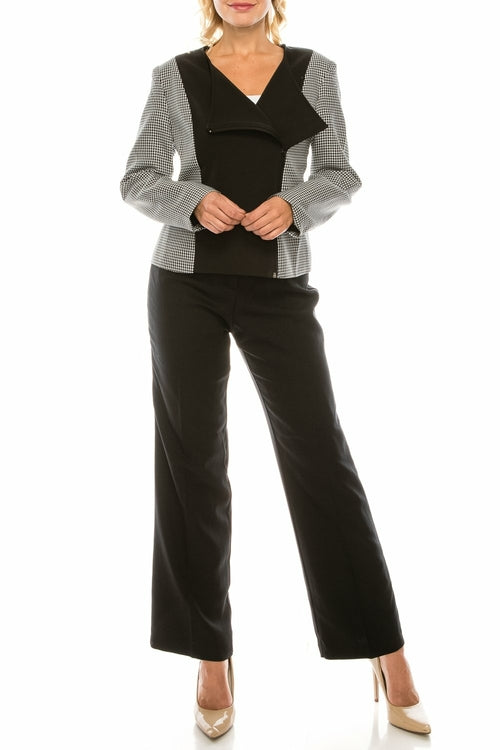 Danillo Black Ivory Houndstooth 2 Piece Pant Suit