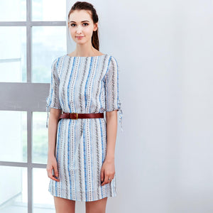 Woman Dress -Floral stripped midi dress