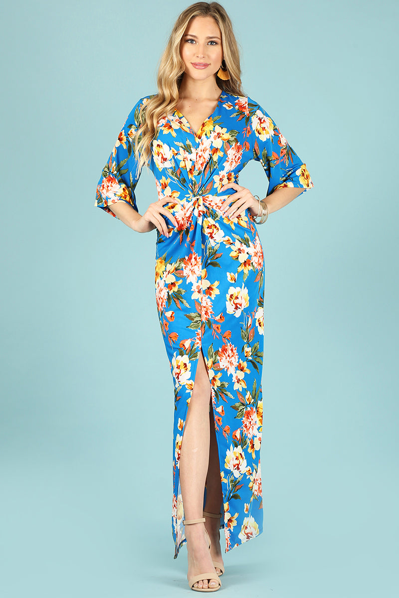 Floral print maxi dress with center bodice twist. 1288