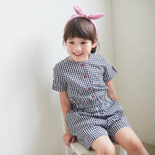 Dark Blue & White Gingham Button-Front Romper