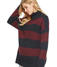 Load image into Gallery viewer, Womens Loose Fit Turtle Neck Stripe Sweaters
