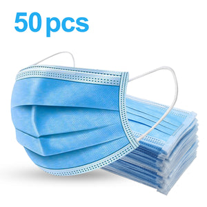 3-ply Disposable Face Masks - (50 Pack)