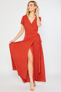 FLOWY MAXI WRAP DRESS - Terracotta