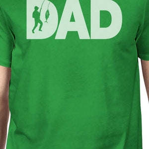 Dad Fish Mens Green Graphic Design Tee Unique