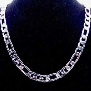 Silver Plated Solid Figaro Brass Classic Chain