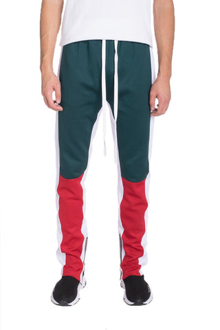 COLOR BLOCK TRACK PANTS- GREEN/RED
